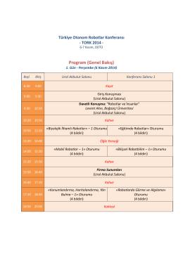 TORK 2014 Programı - Türkiye Otonom Robotlar Konferansı