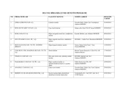 2014 Yılı Birleşik Denetim Programı