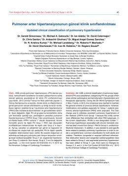 Pulmoner arter hipertansiyonunun güncel klinik sınıflandırılması