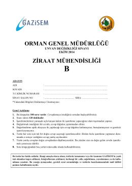 Ziraat Mühendisliği B - Orman Genel Müdürlüğü