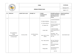 FORM FR-TEB-03 DÖNEM ETKİNLİK PLANI Revizyon: 01 Sayfa: 1 / 4