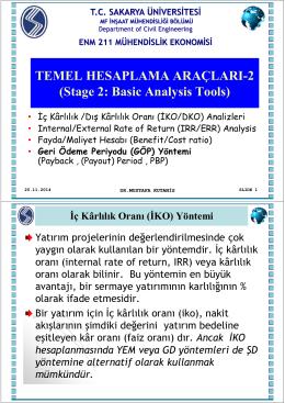 Sunum 6 (25/11/2014) : Hesaplama Araçları