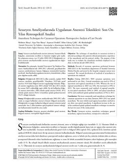 Sezaryen Ameliyatlarında Uygulanan Anestezi