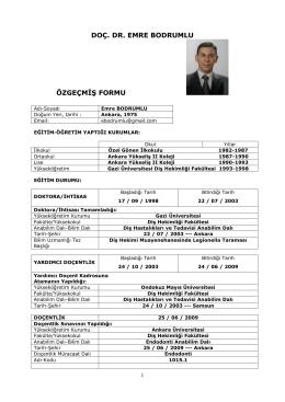 Doç. Dr. Emre BODRUMLU - Bülent Ecevit Üniversitesi Diş
