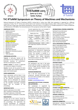TrC IFToMM Symposium on Theory of Machines
