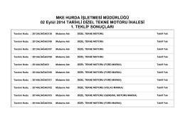 02 Eylül 2014 TARİHLİ DİZEL TEKNE MOTORU İHALESİ