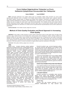Cilt 11 sayi 1 Makale 5 Civciv Kalitesi Değerlendirme Yöntemleri ve