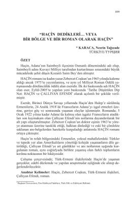 """""""HAÇİN DEDİKLERİ… VEYA BİR BÖLGE VE BİR ROMAN"""