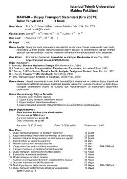 Düşey Transport Sistemleri (Crn 23879)