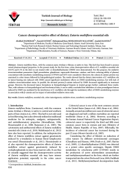 Cancer chemopreventive effect of dietary Zataria multiflora