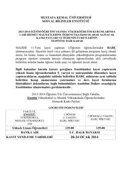 20-24 OCAK 2014 - Mustafa Kemal Üniversitesi