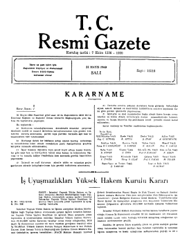KARARNAME - Resmi Gazete