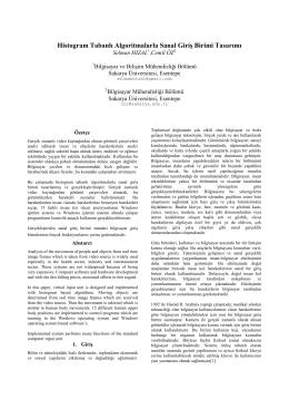 Histogram Tabanlı Algoritmalarla Sanal Giriş Birimi