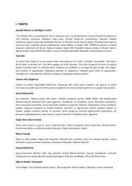 ı. yarıyıl - Türk Dili Bölümü