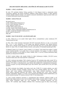 BAL Statüsü - Türkiye Futbol Federasyonu