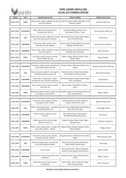 özel şahin okulları aralık ayı yemek listesi