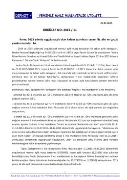sırk 2015-11 2015 yılı kıdem tazminatı tavan ile aile ve