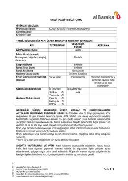 11-Kredi Talebi ve Bilgi Formu (Konut Kredisi) TURKCE