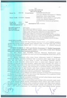 2014/139 5393 sayılı belediye kanununun 67