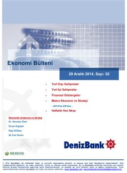 Yurt Dışı Gelişmeler DenizBank Ekonomi Bülteni 29