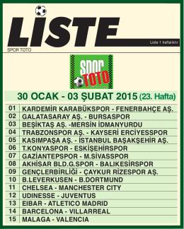 SPORTOTO LİSTE - Spor Toto Teşkilatı