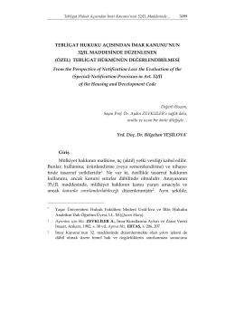 (özel) tebligat hükmünün değerlendirilm - Journal