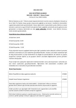 BLM 403 7. Dönem Projesi Yrd Doç Dr Pınar ONAY DURDU Bitirme
