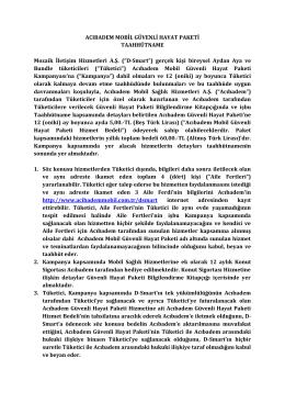 ACIBADEM MOBİL GÜVENLİ HAYAT PAKETİ - D