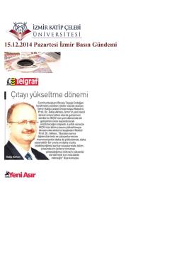 15.12.2014 Pazartesi İzmir Basın Gündemi