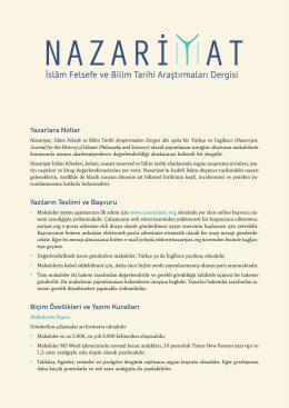 Yazara Notlar - Nazariyat İslâm Felsefe ve Bilim Tarihi Araştırmaları