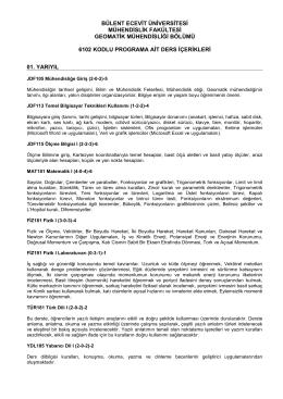 6102 Kodlu Lisans Eğitimi Ders İçerikleri (Türkçe)