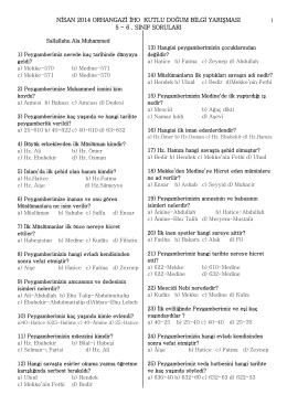 14 Nisan 2014 Kutlu Doğum Bilgi Yarışması Soruları