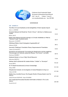 İÇİNDEKİLER DİL - Journal of International Social Research