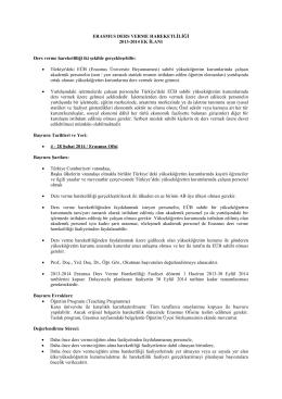 ERASMUS DERS VERME HAREKETLİLİĞİ 2013