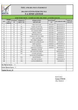 5-a sınıf listesi