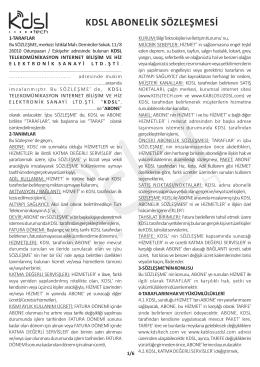 ınternet abonelik sözleşmesi - KDSLtech Bilişim Hizmetleri