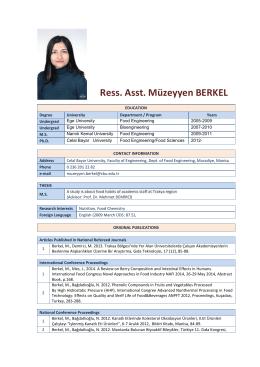 Res.Ast. Muzeyyen BERKEL - Celal Bayar Üniversitesi