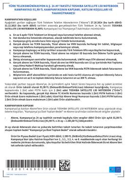 türk telekomünikasyon a.ş. 24 ay taksitli toshıba satellıte l50
