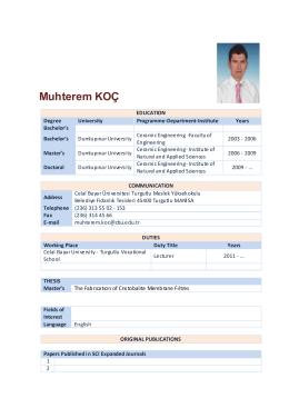 Muhterem Koc - Celal Bayar Üniversitesi