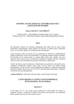 polipol 354 malzeme ile yeni bir karayolu çizgi sistemi önerisi a new
