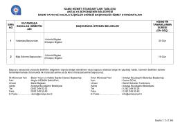 Antalya Büyükşehir Belediyesi Hizmet Standartları Tablosu (Ek