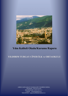 Yılın Kaliteli Okulu/Kurumu Raporu: