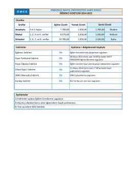 OMÜ Vakfı Koleji 2014-2015 Eğitim Öğretim Ücretleri