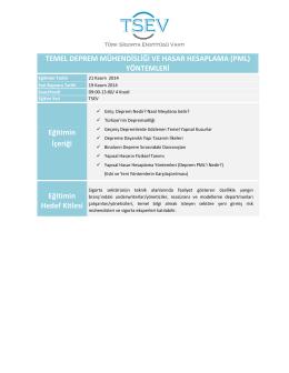 TEMEL DEPREM MÜHENDİSLİĞİ VE HASAR HESAPLAMA (PML