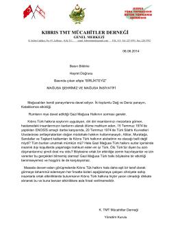 06/06/2014 K.TMT. Müc. Der. Basın Bildirisi Bülteni okumak için