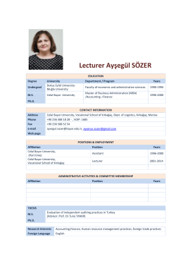 Lecturer Ayşegül SÖZER Accountancy and Tax Applications CV