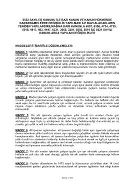 6552 sayılı iş kanunu ile bazı kanun ve kanun hükmünde - Türk-İş