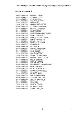 2014-2015 Öğretim Yılı Maden Mühendisliği Bölümü Öğrenci