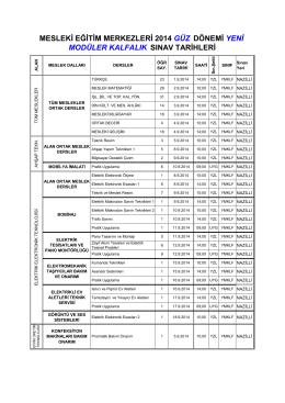 2013-2014 güz dönemi kalfalık sınav tarihleri