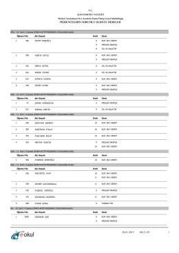 9-13 şubat 2015 sorumluluk sınavı öğrenci listeleri